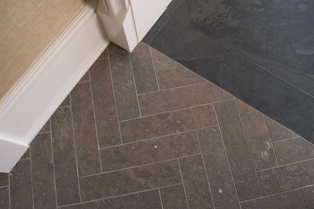 St Andrews Antiqued Herringbone 3x12 Caithness Ebano Satin Cleft 24x24 001
